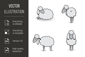 Three abstract gray sheep