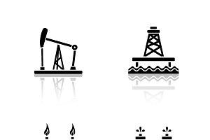 Oil platforms icons. Vector