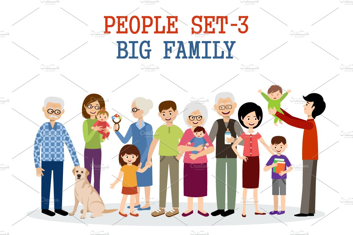 Big Family Illustrations Creative Market