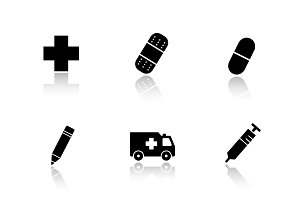 Hospital icons set. Vector