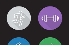 Sport flat linear icons set. Vector