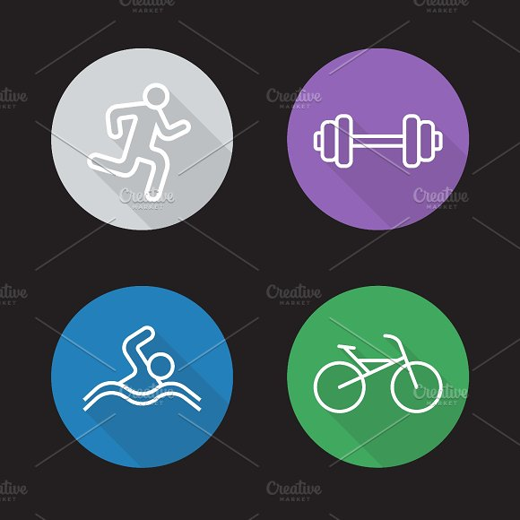 Sport flat linear icons set. Vector - Icons