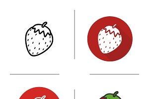 Strawberry icons. Vector