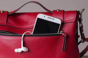 women bag with smartphone