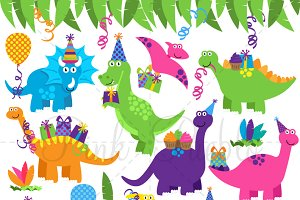 Birthday Dinosaur Clipart & Vectors