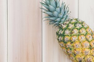 Pineapple and Wood Background  4