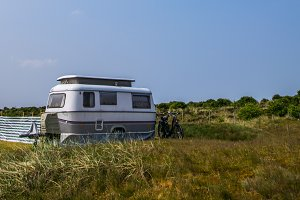 Automobile caravan on camping site
