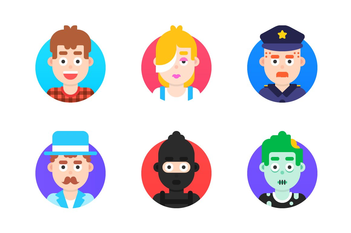 Flat avatars ~ Icons ~ Creative Market