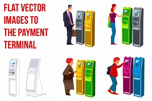 Flat vector the payment terminal