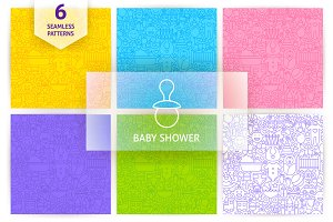 Baby Shower Line Seamless Patterns