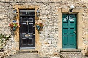 Old wooden painted doors