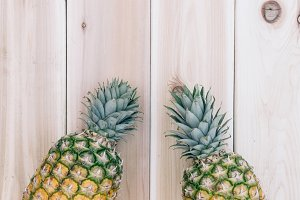 Pineapple and Wood Background  8