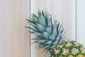 Pineapple and Wood Background  5