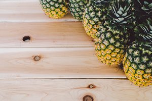 Pineapple and Wood Background  2