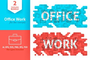 Office Work Word Line Flat Concepts