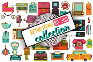 32 retro icons 80-90s collection.