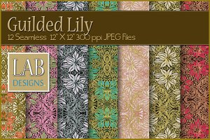 12 Gilded Lily Floral Deco Textures