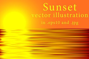 Beautiful sunset vector illustration