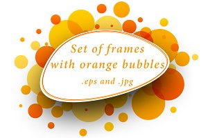 Set of frames with orange bubbles