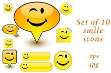 Set of 10 yellow smile icons-smiles