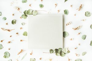 Photo album and floral composition