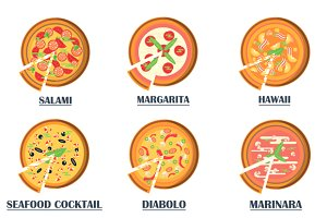 Pizza flat icons
