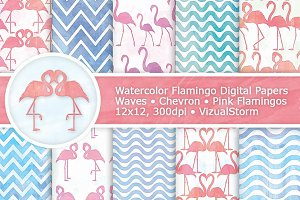 Pink Flamingo Watercolor Patterns