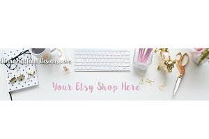 Gold & Pink Etsy Banner Styled Stock