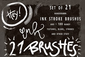 Set of 21 ink brushes for AI.