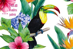 Tropic seamless pattern with toucan