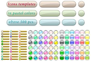 Icons templates set in pastel colors