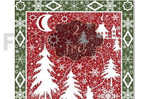 Winter . Pillow, postcard. Red.