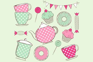 Digital Tea Time Clip Art