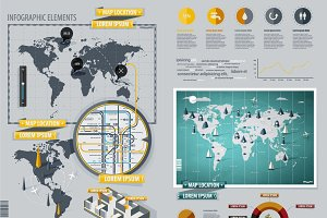 Infographic Elements with World Map