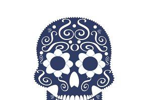 Skull vector flat blue