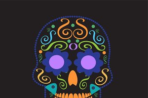 Skull vector neon colors