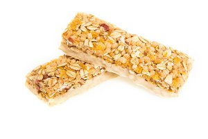 muesli bars with  dried fruit on isolated background