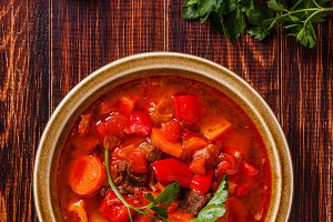 Goulash or stew in bowl