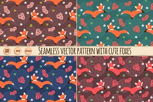 4Seamless Vector Patterns with foxes