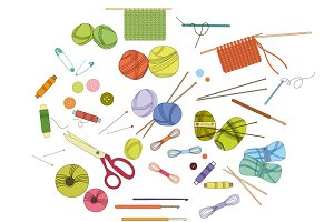 Knitting and crochet vector set