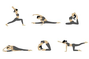 Woman stretching vector set