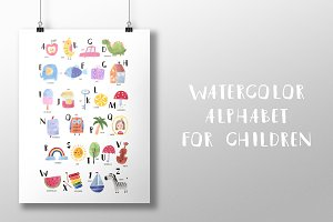 Watercolor alphabet for children