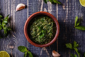 Salsa verde with ingredients