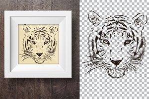 Tiger hand drawn print 1.