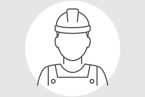 Worker avatar line icon