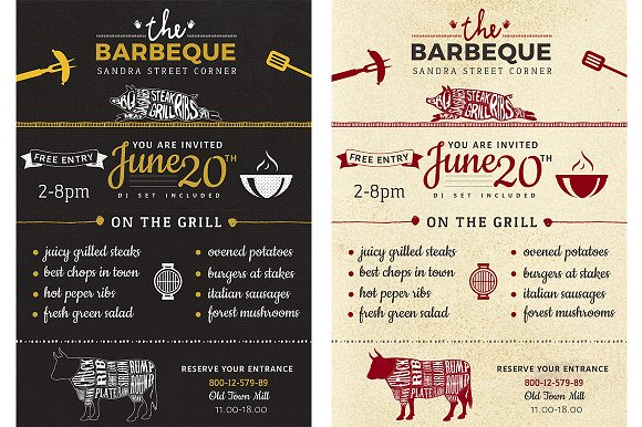 Barbeque Flyer Invitation Invitation Templates Creative Market