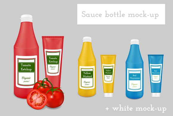 Sauce packaging mock-up. Bottles. - Product Mockups