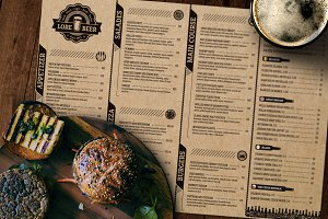 Lore Beer Pub menu layout