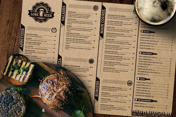Lore Beer Pub Menu Layout Brochure Templates Creative Market