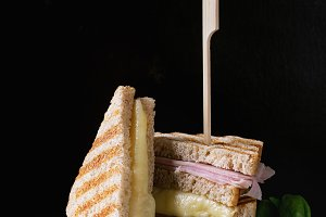 Toasts with cheese and ham